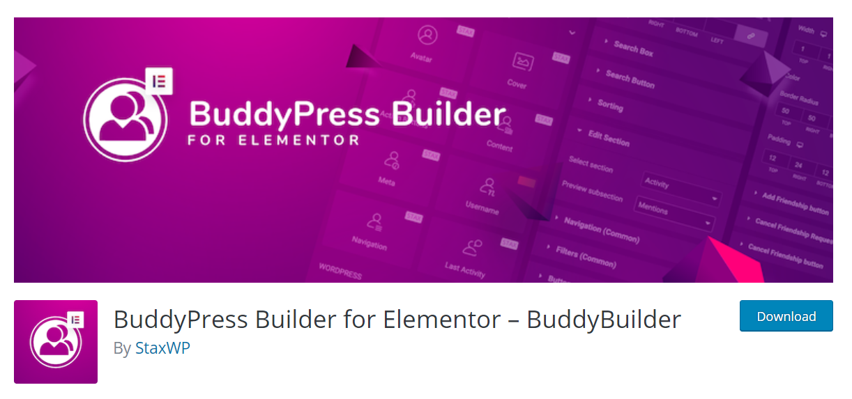 BuddyBuilder - One of the most popular BuddyPress plugins