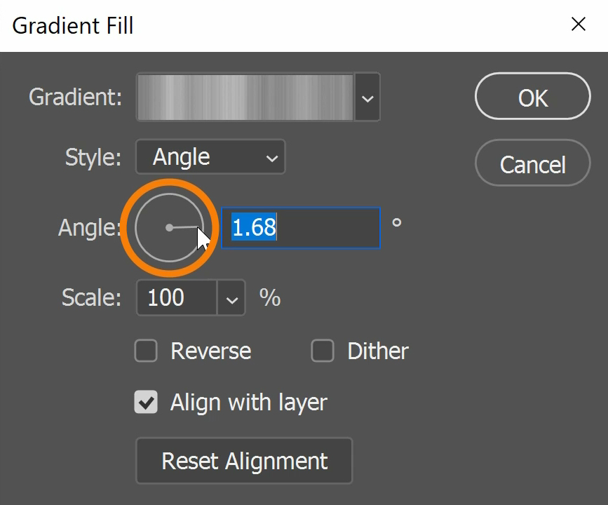 You can adjust the angle of the gradient by inputting angle value or simply adjusting the angle in the circle.