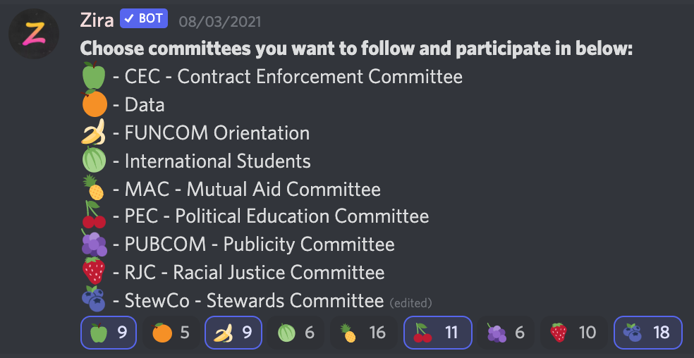 Zira Bot message showing the individual union committees in order CEC, Data, FUNCOM, International Students, MAC, PEC, PUBCOM, RJC, and STEWCO.