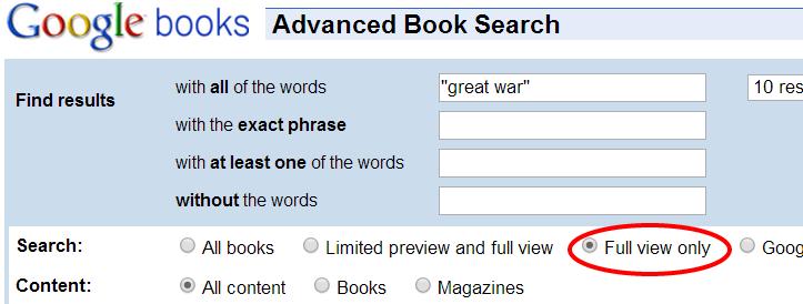 Graphic of the advanced search box in Google Books