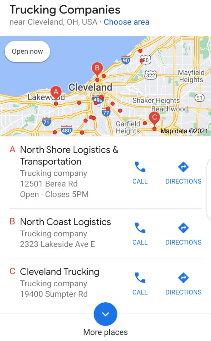 An example of a local search result for a haulage company