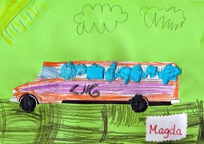 Nauczanie o Metanie. Jedna z prac plastycznych konkursu 'Ekologiczny autobus CNG'