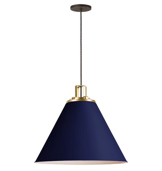 "butte 24"" cone aged brass pendant matte cobalt lighting picks leanne bunnell interior design"