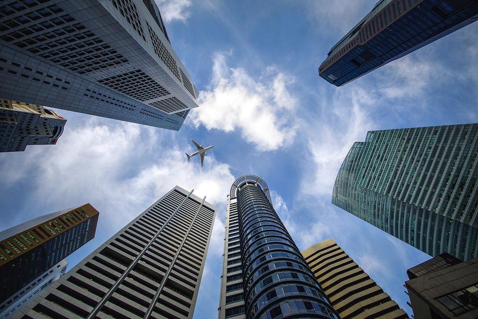 Singapore, Sky, Blue, Building, Financial District