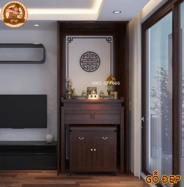 Mẫu bàn thờ và vách ngăn được lắp đặt tại nhà anh Bình