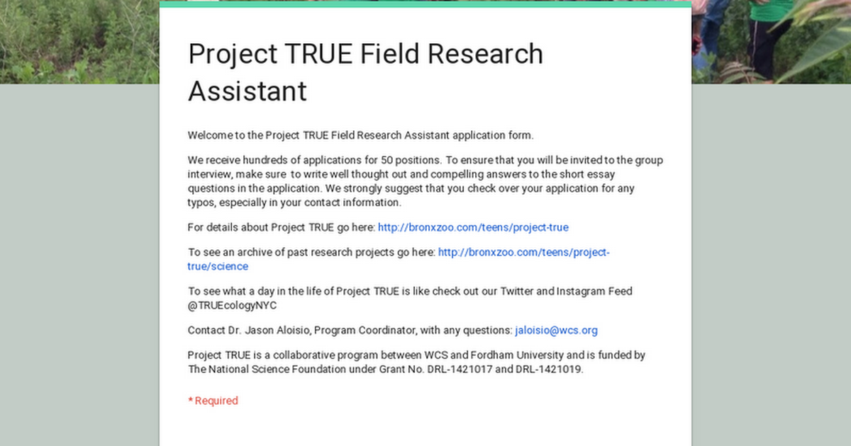 Project True Field Research Assistant