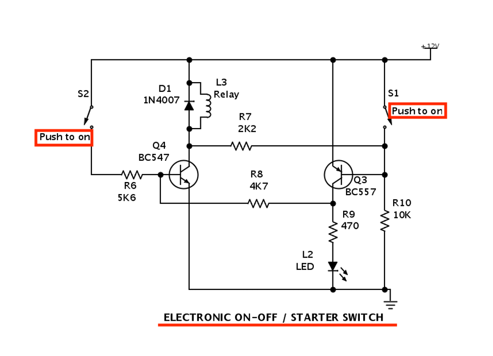 Diagram showing a 12v battery absorb charger circuit