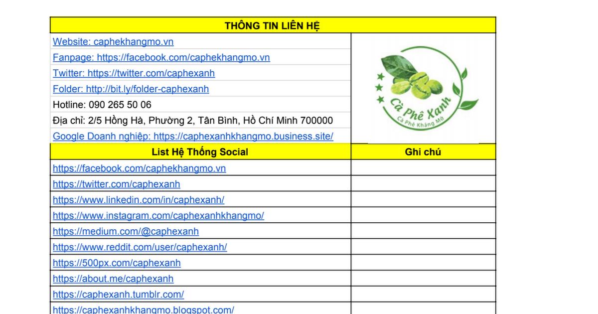 Hệ Thống social Cà Phê Xanh Kháng Mỡ Thiên Nhiên Việt
