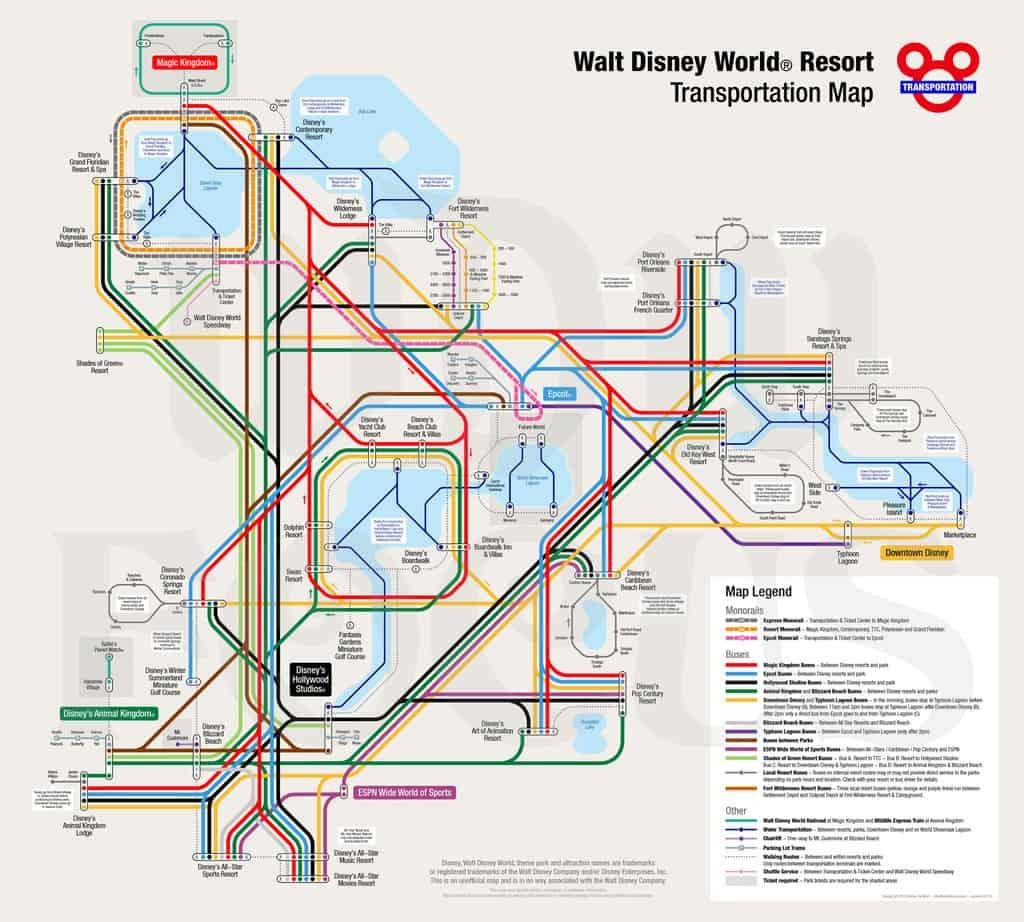 Walt Disney World Resort Transportation Map includes the Monorails, Buses and Other options.