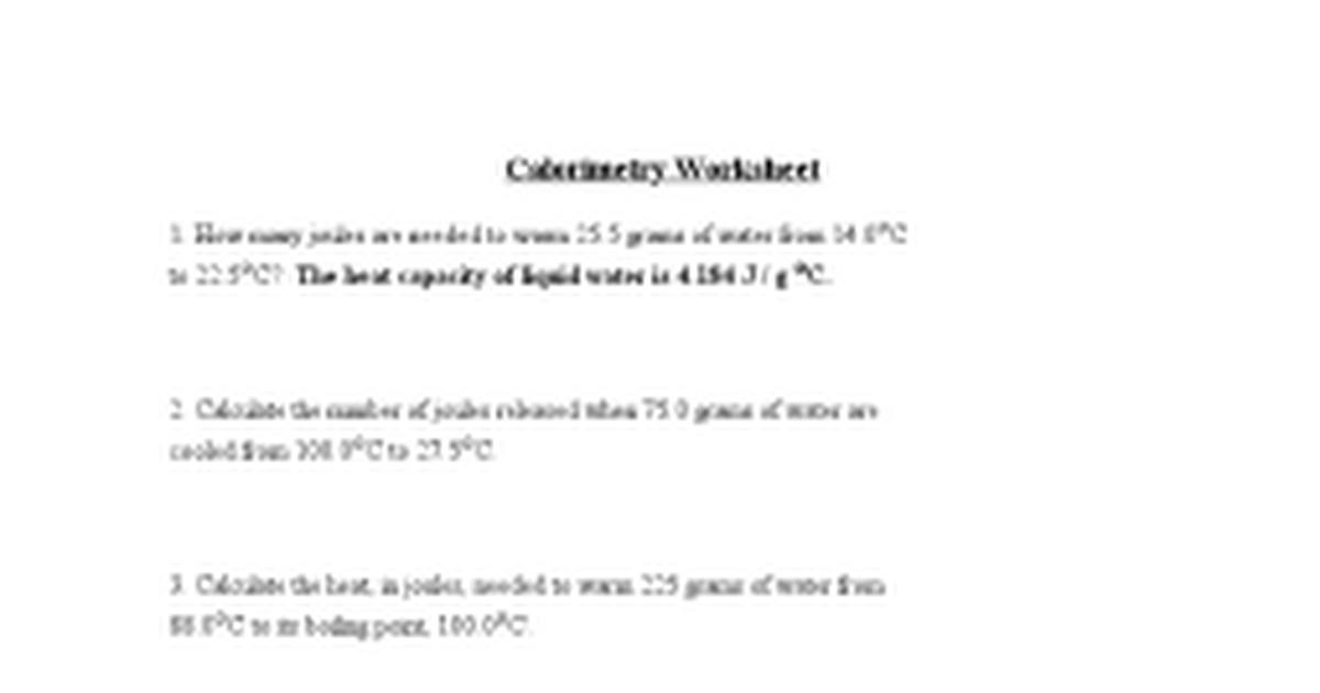 Calorimetry Worksheetdoc Google Docs – Calorimetry Worksheet