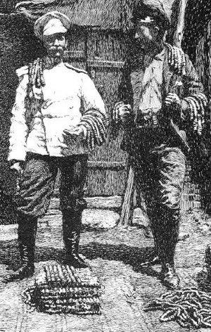 William Sachtleben (right) with a Russian friend with enough strings of cash coins to pay for a meal at a restaurant in Ghulja in 1892.