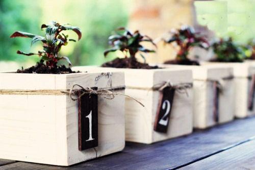 DIY planter box wedding centerpieces