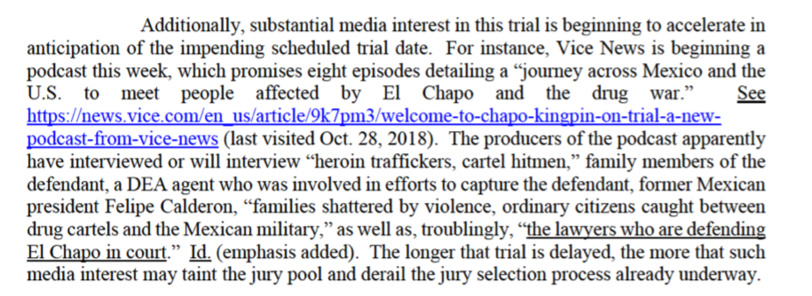 """Our podcast about El Chapo could """"derail"""" jury selection ..."""