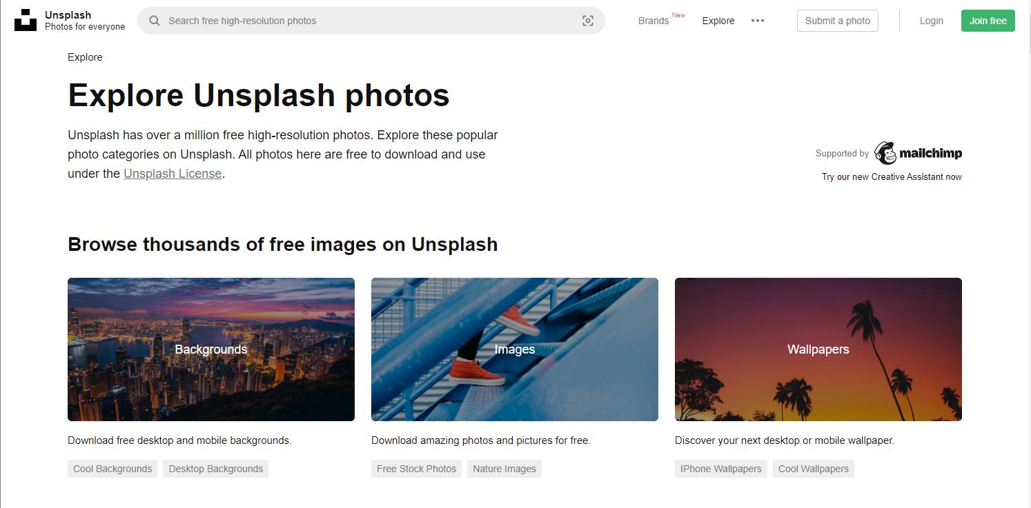 Unsplash free background images