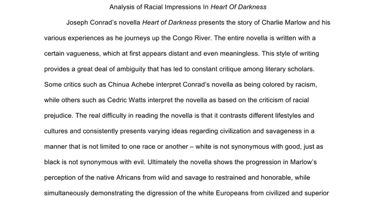 a literary analysis of heart of darkness by achebe