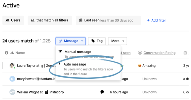 Intercom's chat  Auto Message For Visibility