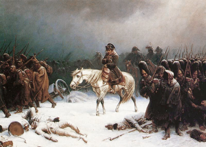 Painting of Napoleon on horseback in the snow surrounded by his desperate soldiers, with bodies on the ground.