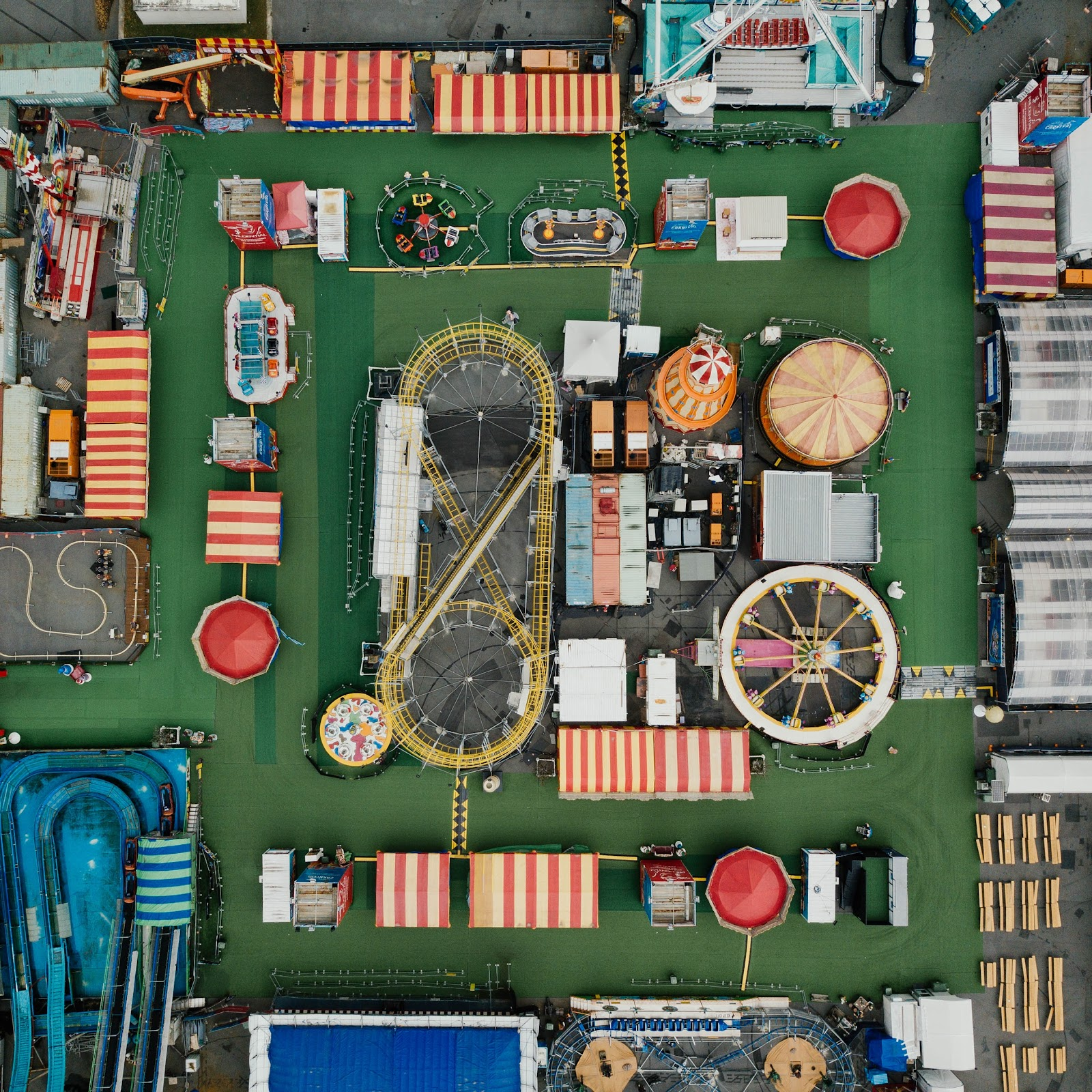 Aerial image of a carnival to illustrate the multiple points of entry and pathways an experience can take.