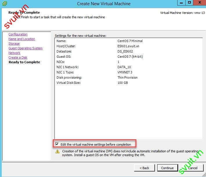 Install CentOS 7 Minimal on VMware vSphere 6.5(9)