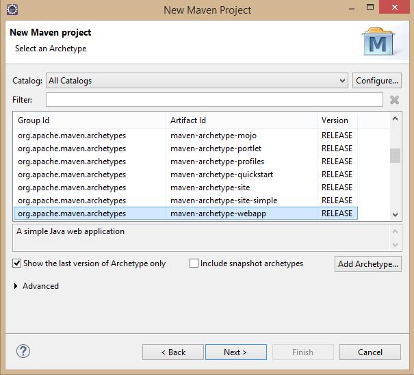 Fig - select maven-archetype-web app
