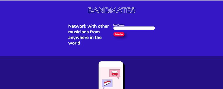 Mẫu landing page miễn phí của MailChimp - Bandmates
