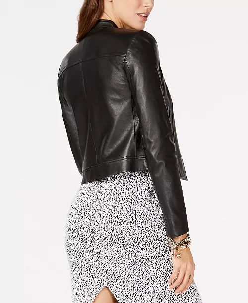 petite leather jacket and a printed dress