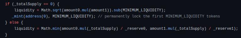 Liquidity minted code