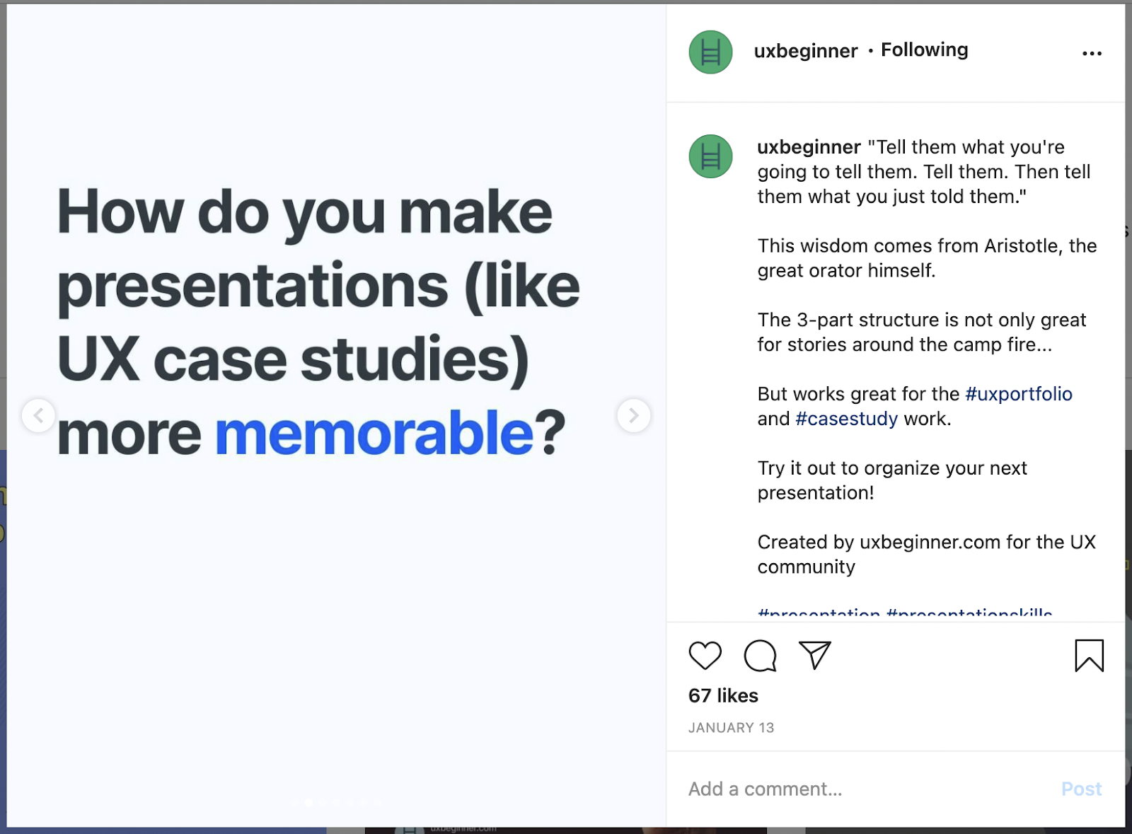 """slide #2 of Instagram post which reads, """"How do you make presentations (like UX case studies) more memorable?"""