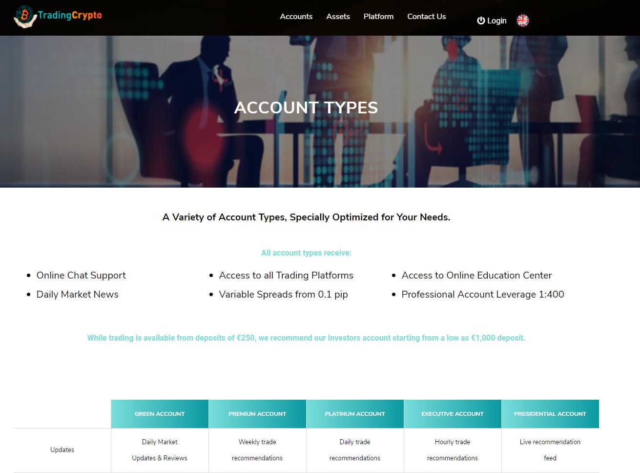 Tradingcrypto account types