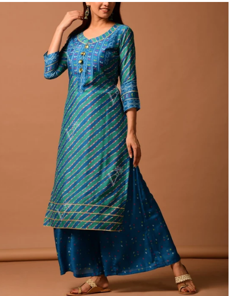 Peacock Blue Silk Bandhani Kurti Suit for women