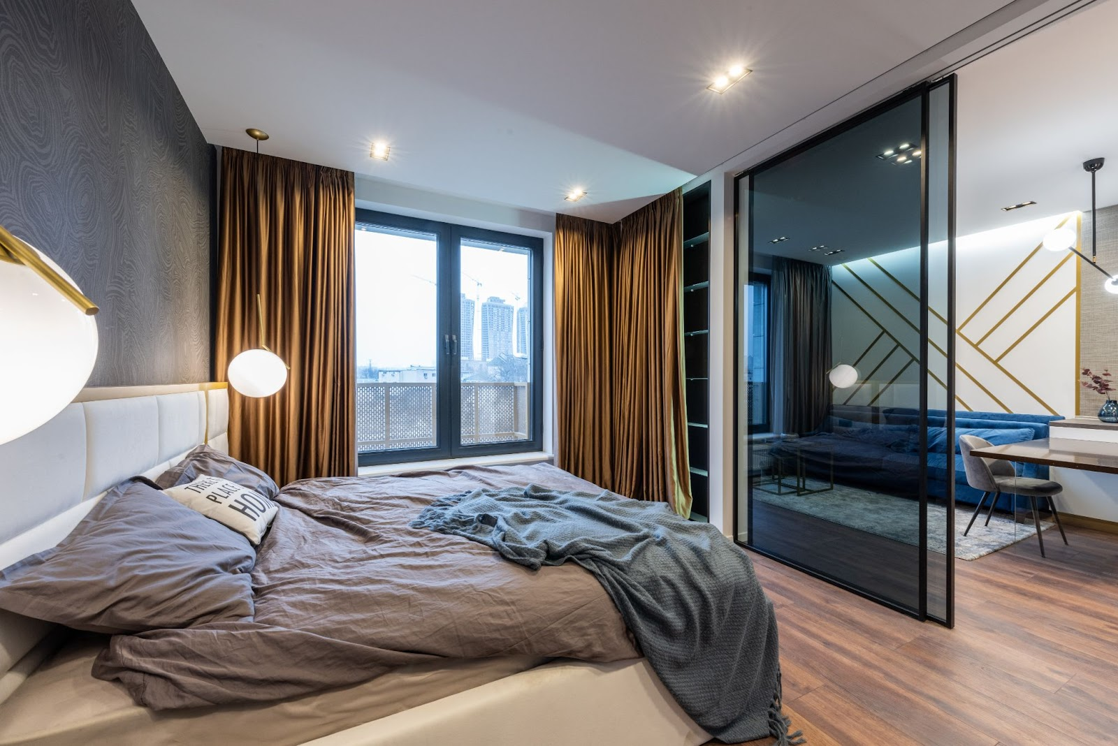 bedroom with interior tinted windows
