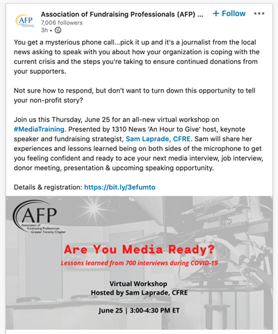 AFP linkedin post