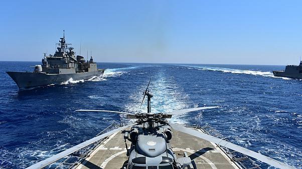 مانور نظامی یونان و متحدان در شرق مدیترانه