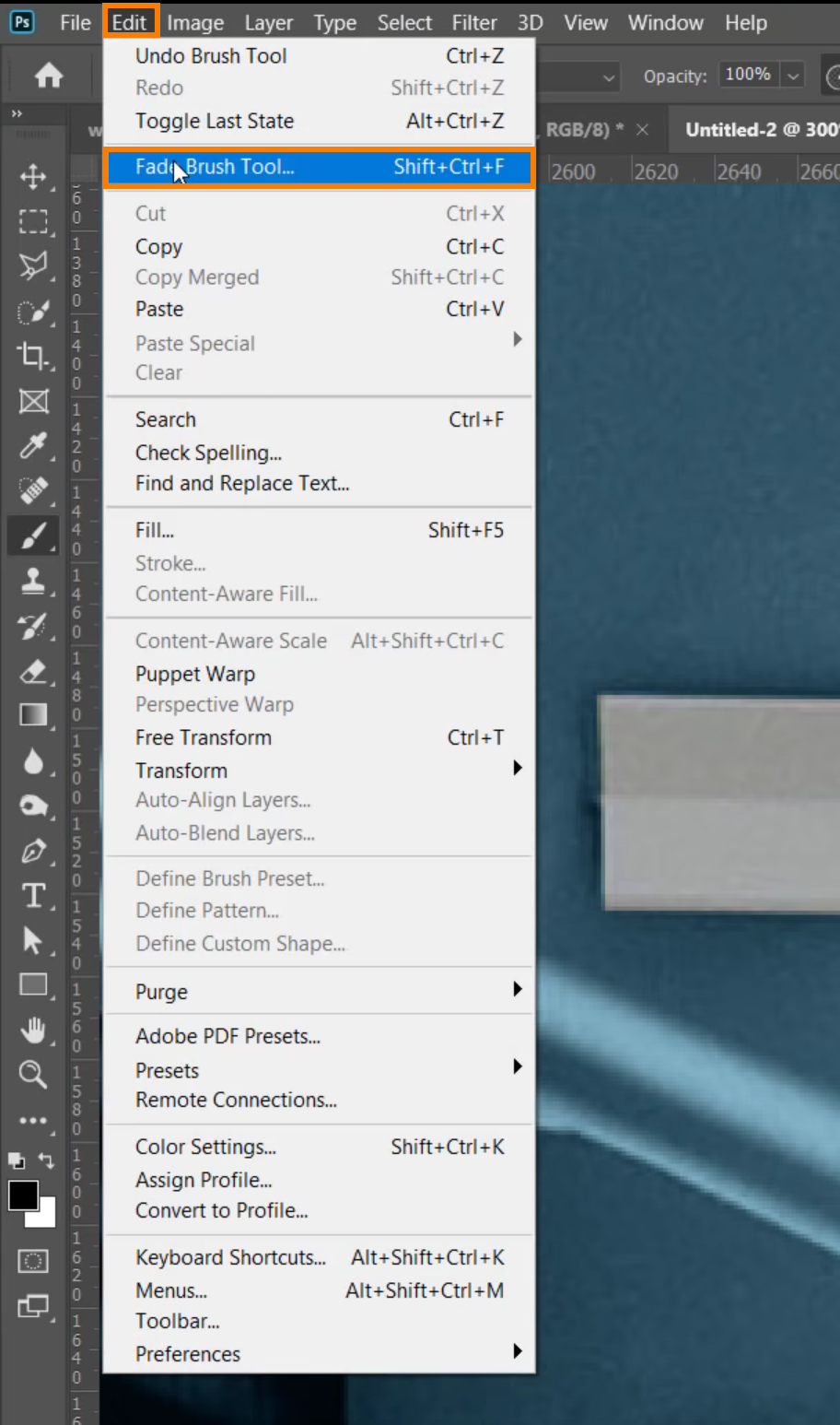 Choose Edit > Fade Brush Tool