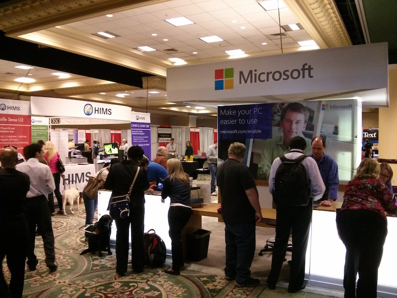 Photo of the vendor trade show (Microsoft booth) at the 2013 CSUN conference.