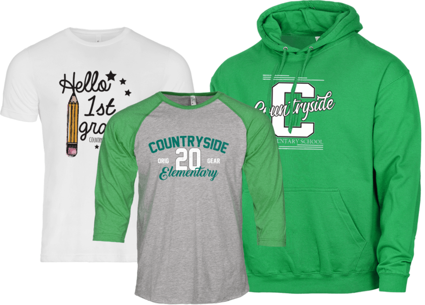 Examples of the types of shirts 1st Place Spiritwear can do for your class, school, and district