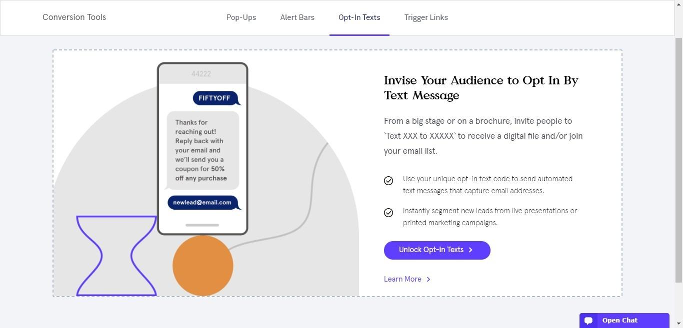 leadpages conversion tools 'opt-in by text' option
