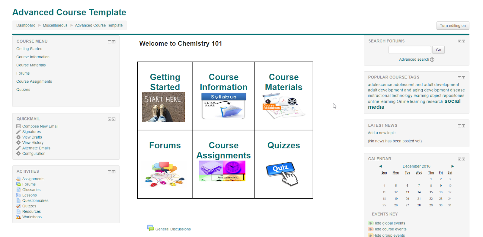 Screenshot of Advanced Moodle Template