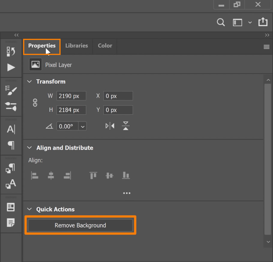 Properties panel > Quick Actions > Remove Background