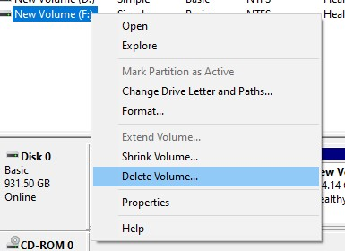 Delete selected disk Volume