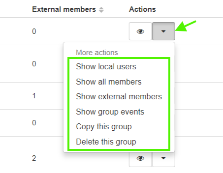 An admin can also perform other actions on the group selected, like show members, copy or delete the group.
