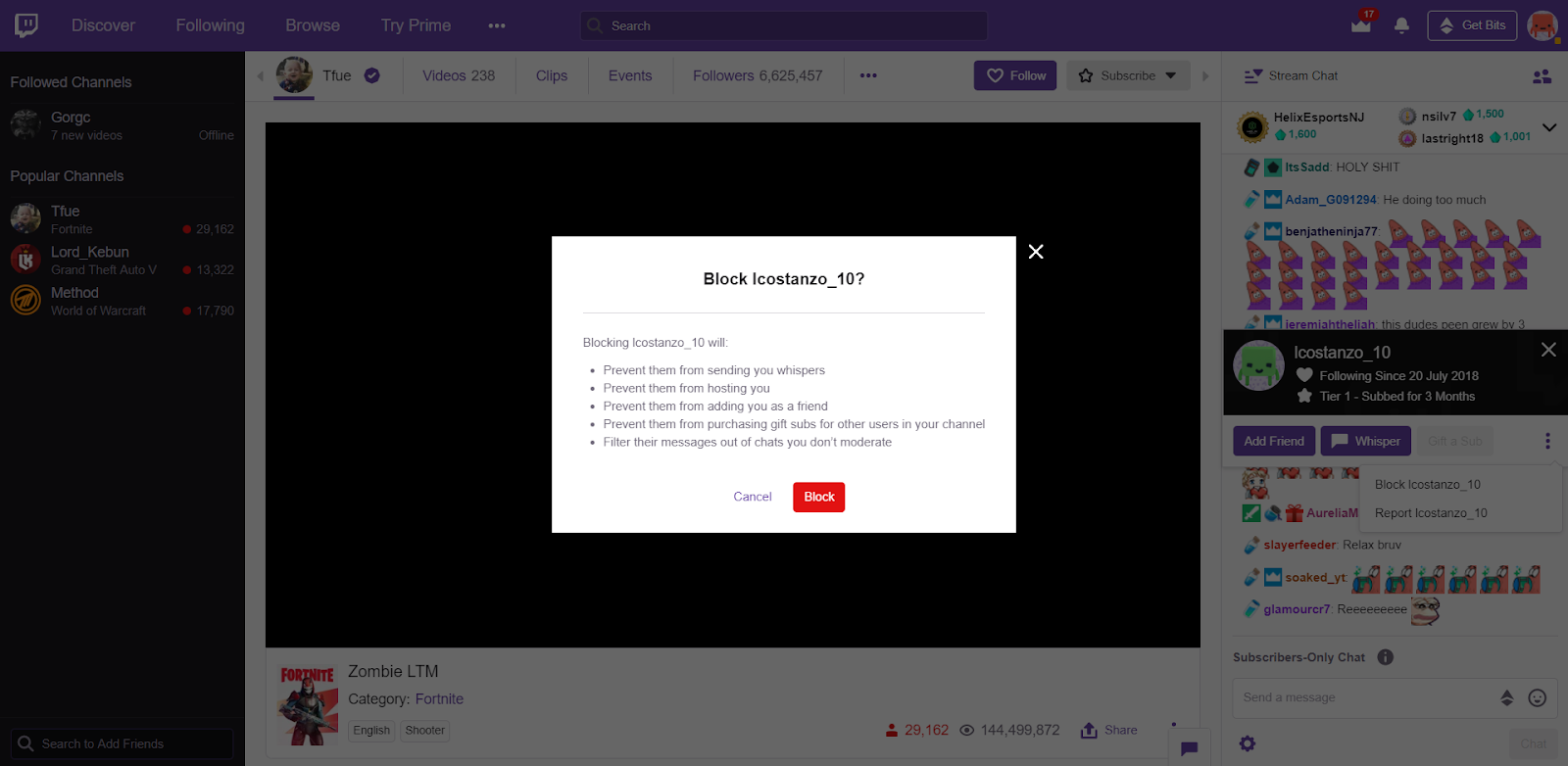 how to block someone on twitch