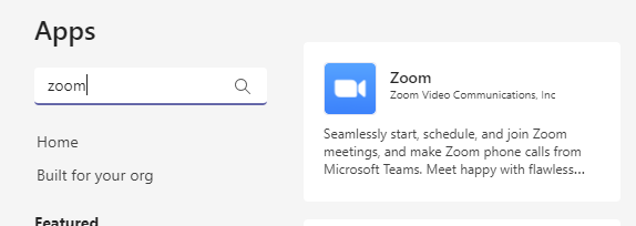 Search for the Zoom Microsoft Teams plugin in the app store