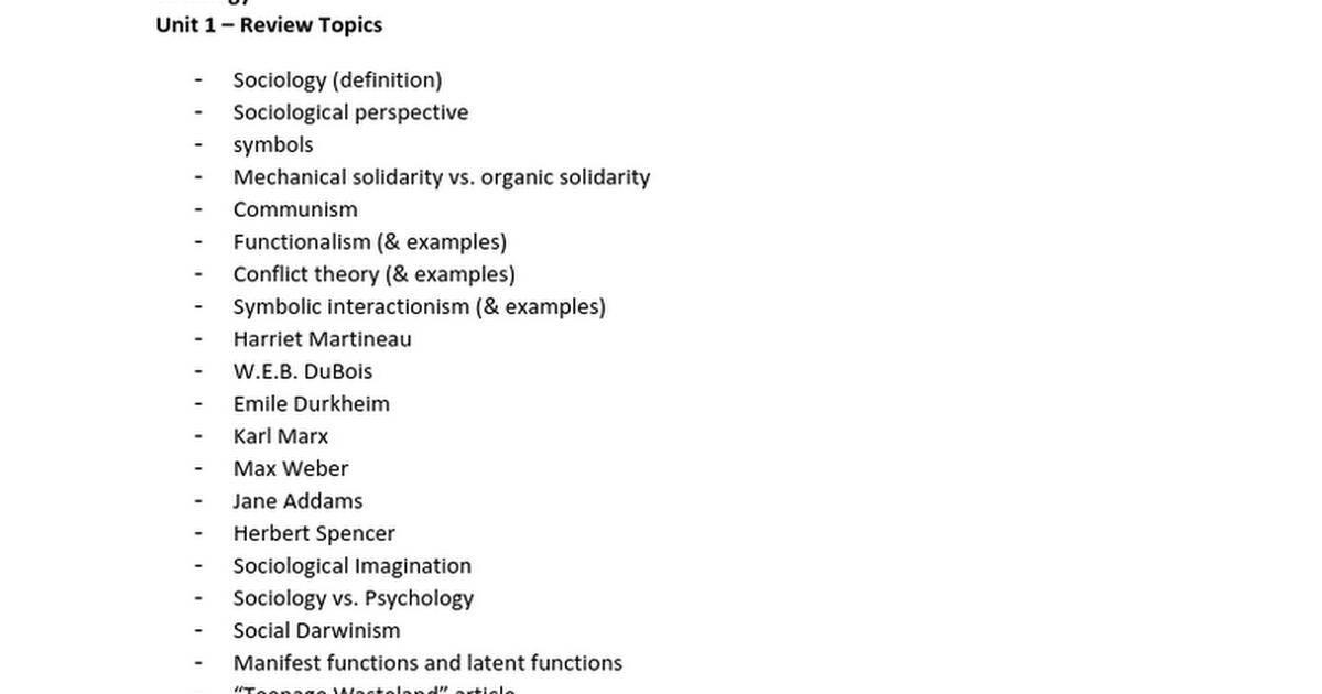Sociology Unit 1 Reviewcx Google Docs