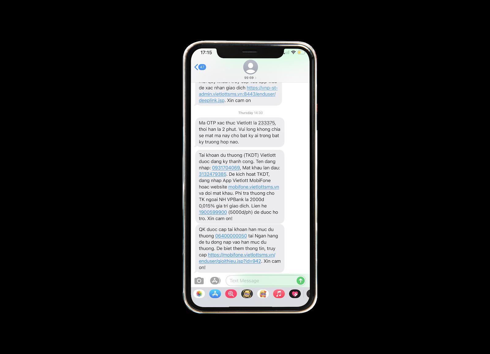 Hệ thống sẽ nhắn SMS đến số điện thoại đăng ký chơi Vietlott online