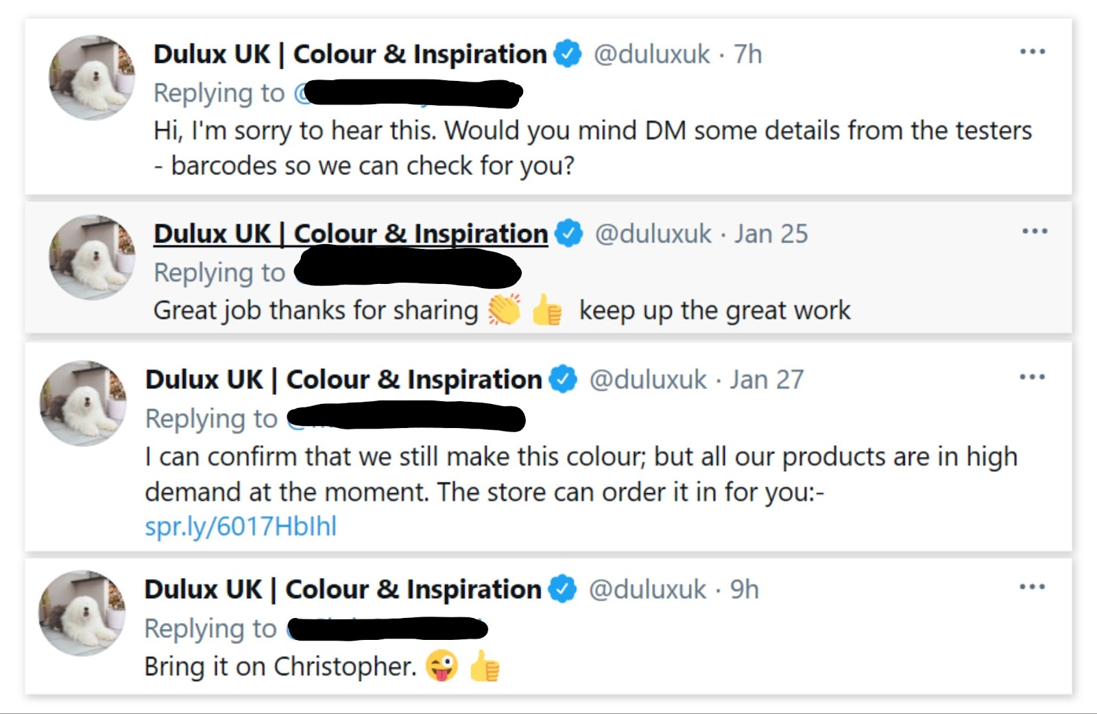 Dulux UK relying to its followers on Twitter