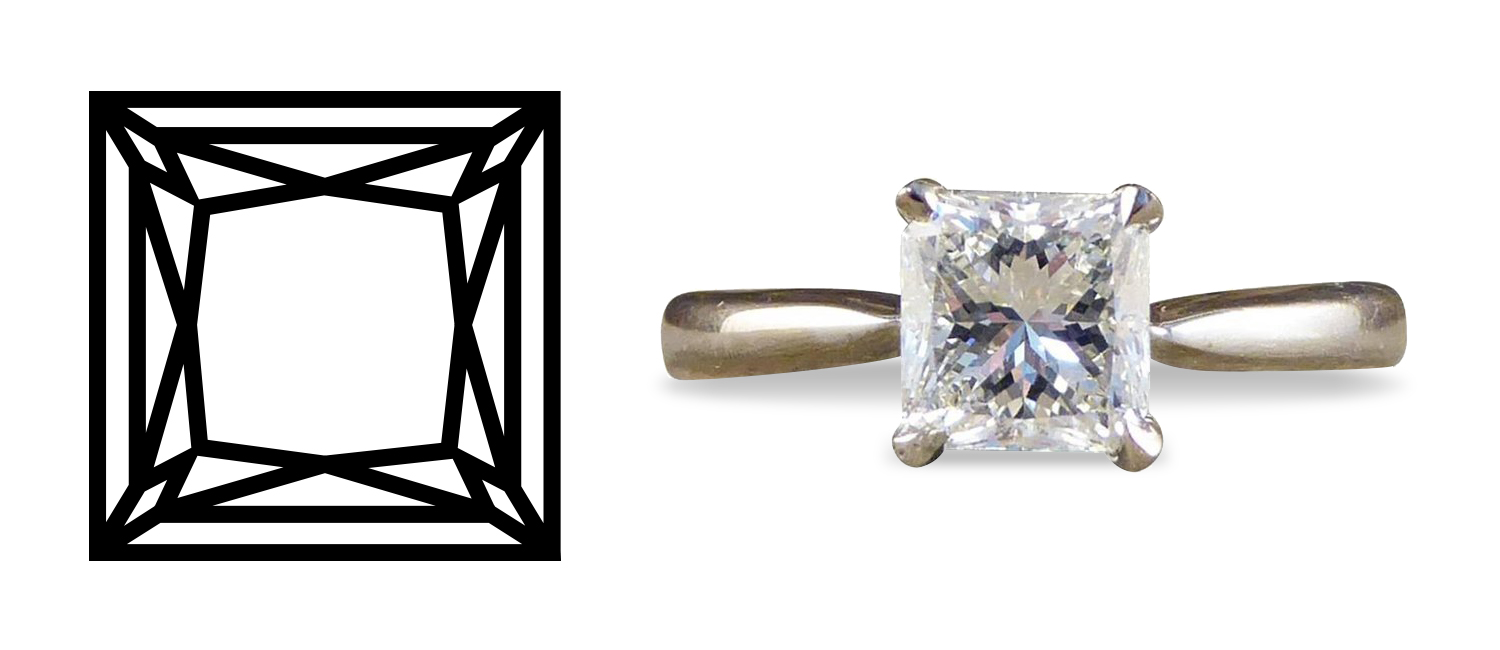 Princess-cut one-carat diamond solitaire and white gold ring