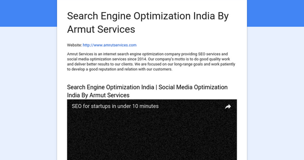 Search Engine Optimization India By Armut Services