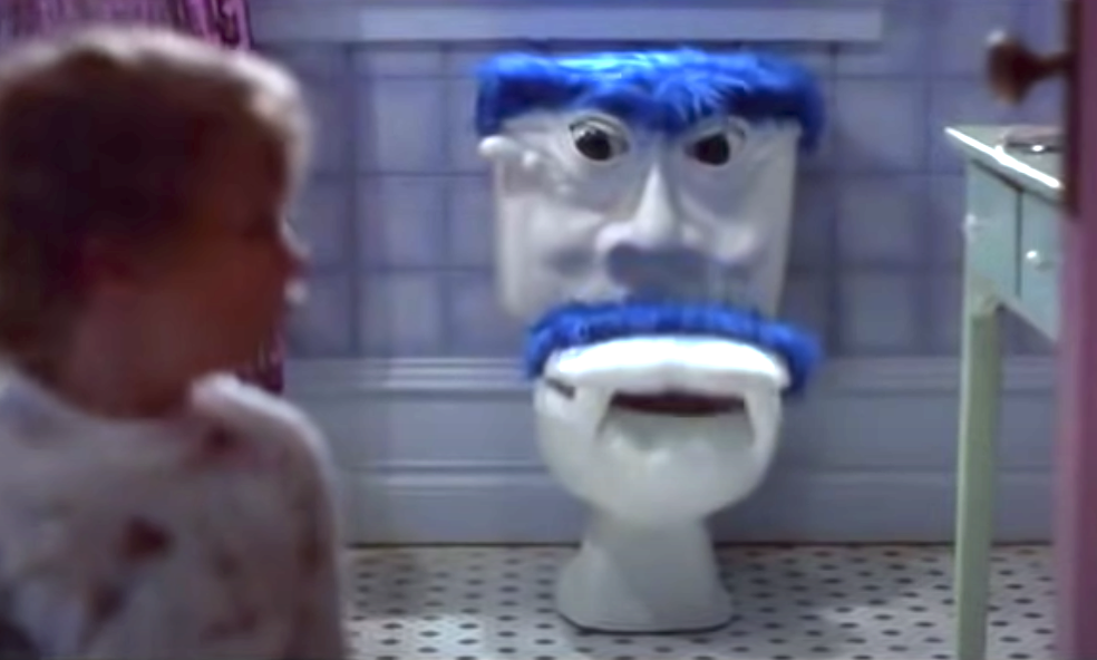 Talking toilet scene
