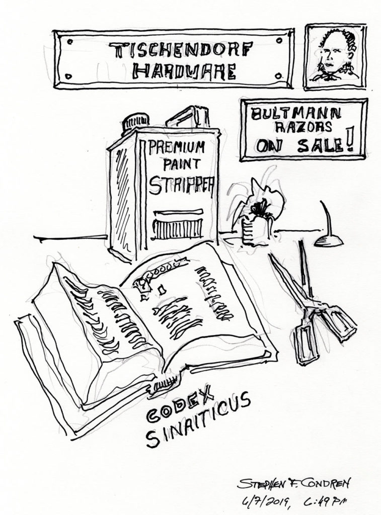 Pen & ink drawing of Codex Sinaiticus being cut apart by Rudolph Bultmann.